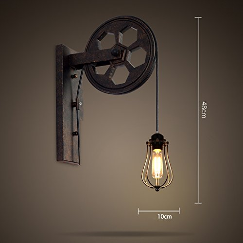 DGF Retro Iron Wall Lamp, Various Styles Can Be Chosen, Creative Pulley Design, Personalized Restaurant/Corridor Channel Wall Lamp, E27 (Without Light Bulb) (Color : F) by Great St.