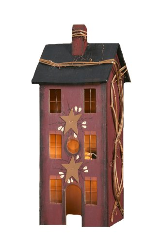 (Your Heart's Delight Primitive Home Electric Light, 5 by 13 by 4-Inch, Large, Burgundy)