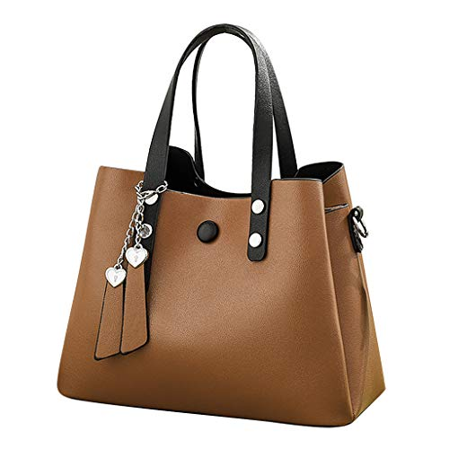 (Claystyle Women's Fashion Leather Shoulder Messenger Crossbody Bags Clutch Totes Brown)