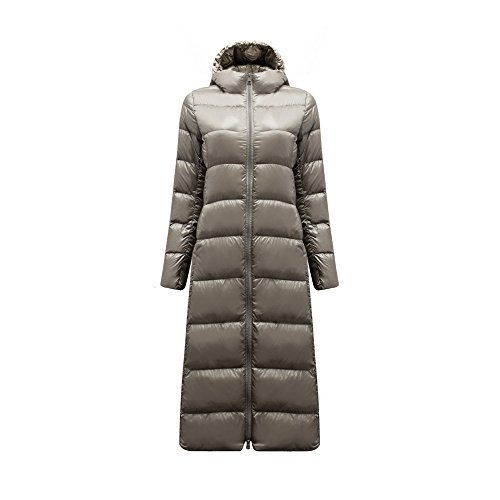 Women's Down Jacket Lightweight Padded Outerwear with Hood Grey