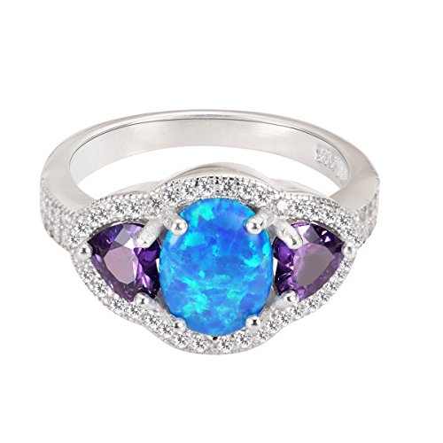 CloseoutWarehouse Blue Simulated Opal and Heart Simulated Amethyst Cubic Zirconia Ring Sterling Silver Size 10 by CloseoutWarehouse (Image #2)