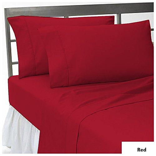 Noble Comfort Linen Neuf 3 pcs Drap-Housse Euro King IKEA Taille avec Poche de 20 cm (20,3 cm) de Profondeur en Neuf Couleur Rouge et Motif Solide (100% Coton égypcravaten 300 Fils Compte)
