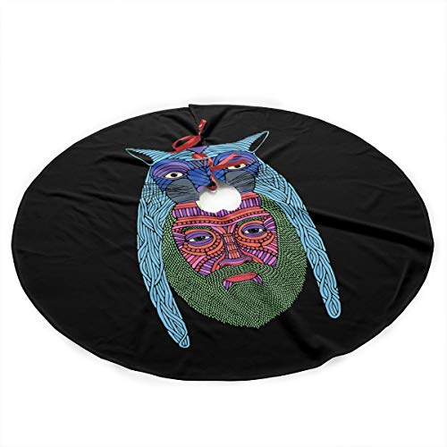 Mountain Gorgeous Lion Gifts (Qinf Lion Hat Leigh Beard Aztec Mountain Christmas Tree Skirt 35.5