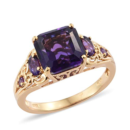 5 Stone Ring 925 Sterling Silver Vermeil Yellow Gold Square Amethyst Gift Jewelry for Women Size 6