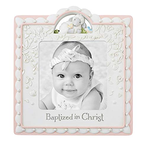 Pink Baptized in Christ Keepsake Photo Frame, 7 1/2 Inch