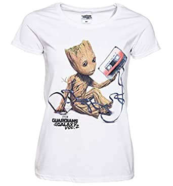 CID Womens White Baby Groot and Cassette Guardians of The Galaxy T Shirt