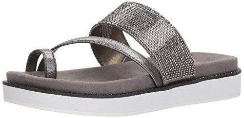 - Kenneth Cole REACTION Women's Slam Shot Flat Sandal with Toe Ring and Micro-Jewel Strap, Pewter, 7.5 M US