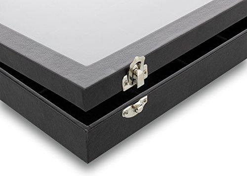 Black Velvet Jewelry Display - Storage Tray Organizer for rings, Cuff Links, Stud Earrings - 14'' by Juvale (Image #7)