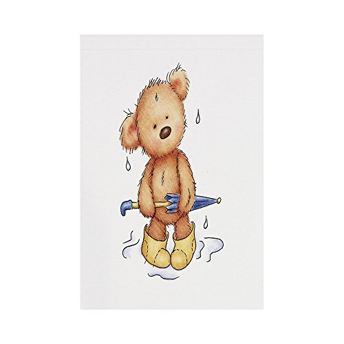Bears Boots Rain (Polyester Garden Flag Outdoor Flag House Flag Banner,Bear,Teddy Bear Caught up in Rain with Rubber Boots Holding an Umbrella Cartoon,Sand Brown Yellow Blue,for Wedding Anniversary Home Outdoor Garden)