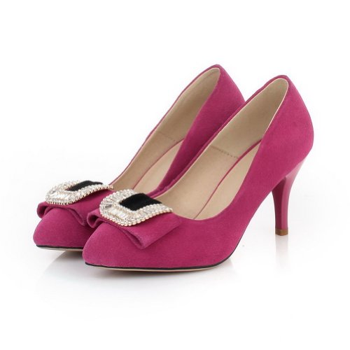 Closed 3 Hilfiger VogueZone009 with Tommy Pointed UK Heel Spikes Stilettos Womans High Pumps Rhinestones Rosered Solid Frosted Toe 5 arrqxB5n
