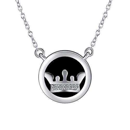 ACCTSY Round Circle Disc Emboss Crown Pendant 925 Sterling Silver Personalized Pendant Necklace for Women Girls - Emboss Disc