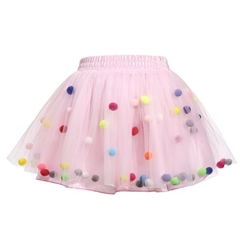 Meeyou Little Girls' 3 Layers Tutu Skirt with 3D Pom Pom Puff Balls(3-4T, Pink)