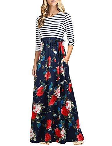 HNNATTA Women 3/4 Sleeve Striped Floral Print Tie Waist Party Maxi Dress with Pockets