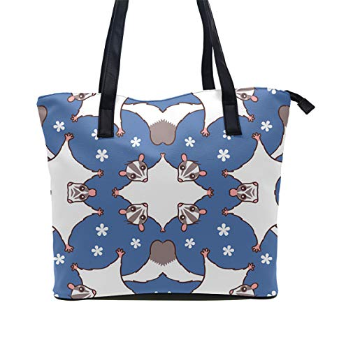 Daily Tote with Shoulder Length Handles and Outside Pocket (Sweet Sugar Glider With Flowers)