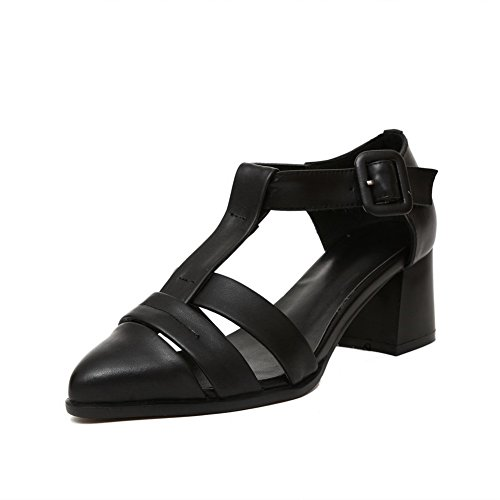 AmoonyFashion Womens Solid Cow Leather Kitten-Heels Closed Toe Buckle Sandals Black 4gxpsd26q