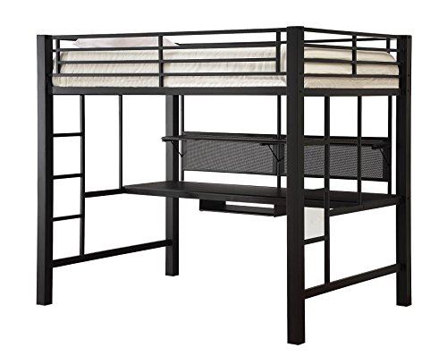 Coaster Full Size Metal Loft Bed w/Computer Workstation Blac