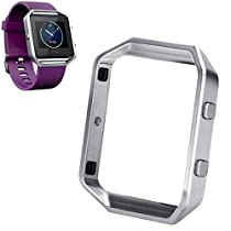 For Fitbit Blaze Watch,Haoricu Luxury Stainless Steel Watch Replace Metal Frame Watch Holder (Silver)