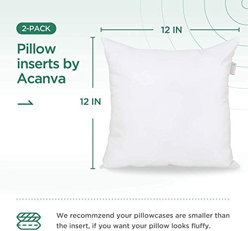 Acanva Pi Acv12 2p 12x12 Set Of 2 Soft Square Throw Inserts With Microfiber Filled Full Back Support Decorative Pillows Cushion With Smooth Cover For Sofa Bed Couch Chairs White