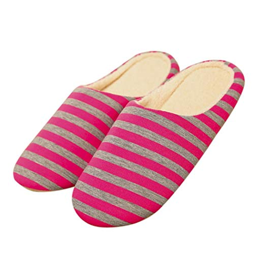 Unisex Cotton Slippers Pattern Bulges Stripe Casual Flat Red axdqUBw