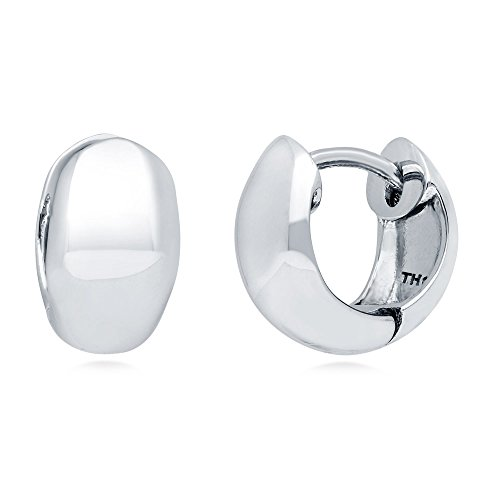 BERRICLE Rhodium Plated Sterling Silver Dome Mini Fashion Hoop Huggie Earrings -