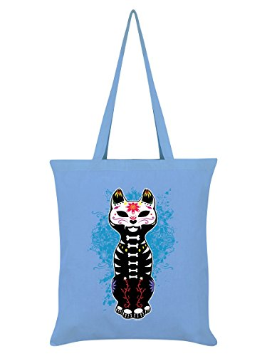 Unorthodox Borsa Tote Sugar Skull Kitten 38 x 42 cm in cielo blu