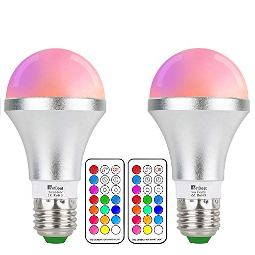 NetBoat LED Color Changing Light Bulb with Remote Control,10W E26 RGB+Warm White LED Bulbs Dimmable,Memory Function and Wall Switch Control,Ideal Lighting for Home Decoration,Stage,Bar,Party,2 Pack