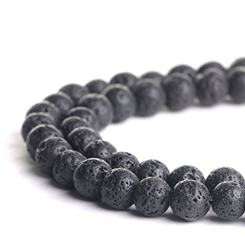 (Natural 6mm Black Lava Gemstone Loose Beads Polished Round Crystal Quartz Energy Healing Power Stone Beads For Jewelry)