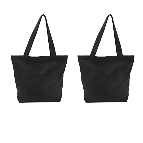 (Augbunny Heavy Duty 100% Cotton Canvas Zipper Beach Shoulder Grocery Tote Bag With Outer Pocket 2-pack)