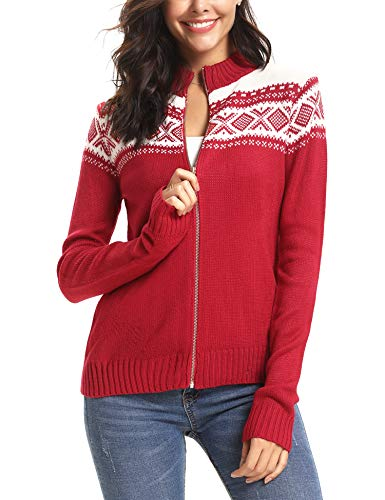 (iClosam Women Knit Sweater Long Sleeve Solid Pullover Turtleneck Sweater (Red, X-Large))