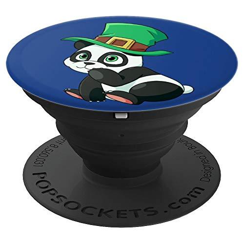 (Leprechaun Panda Bear St Patricks Day Cute Irish Shamrock - PopSockets Grip and Stand for Phones and Tablets)