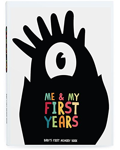 Me & My First Years Baby Memory Book - Monsters. Personalised album for photos, pictures & development. Perfect Baby Shower Gift.