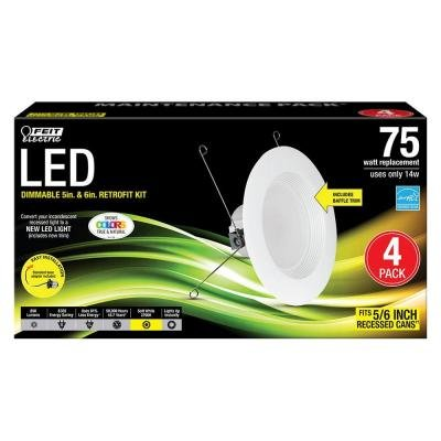 Feit Electric 5 in. and 6 in. White Trim Recessed Retrofit Baffle Downlight LED Module 90 CRI, 2700K ()