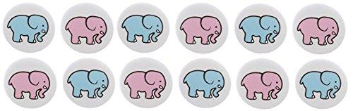"Set of 12 Blue Pink Elephants - Gender Reveal Girl Boy Baby Shower Party Favors Elephants 1.25"" Magnets"