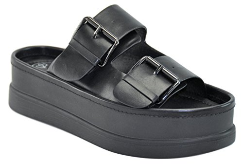Adelle Black Faux Vegan Leather Double Buckle Thick Sole Wedge Platform Punk Sandal Sandalias Bonitos Baratos Mejores de Mujer Last Minute Christmas Idea Women Ladies (Size 7.5, Black) ()