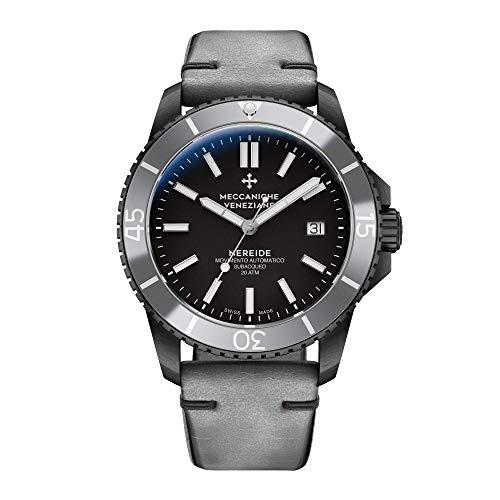 Meccaniche Veneziane Men's Automatic Mechanical Diver Watch with Silver Vintage Leather Strap Nereide 3.0 Silver PVD 1202015 Swiss - Incabloc Swiss