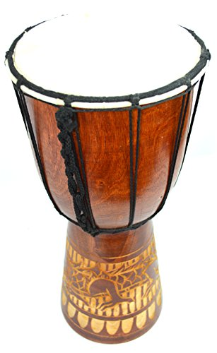 "12"" DJEMBE DRUM BONGO HAND CARVED AFRICAN DRAGON WILD DESIGN"