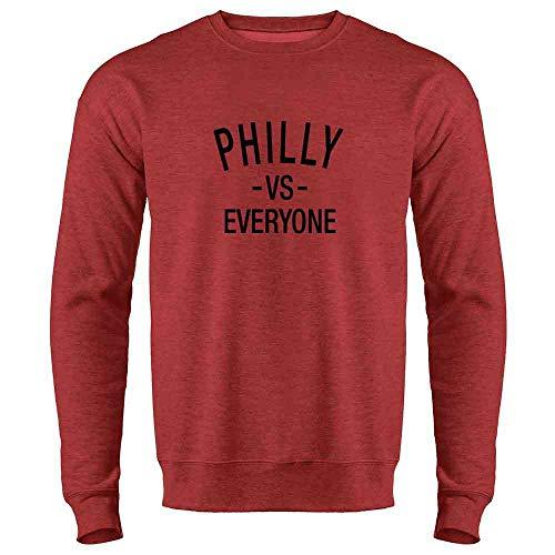 (Pop Threads Philadelphia vs Everyone Philly Sports Fan Heather Red L Mens Fleece Crew Sweatshirt)