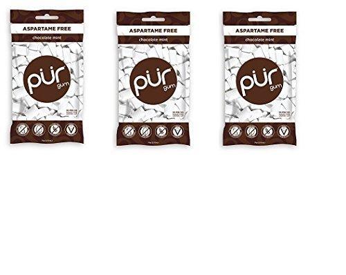 Pur Gum Gum Sugar Free Chocolate Mint Bag, 55 Pieces, 3 Count (Chocolate Gum)