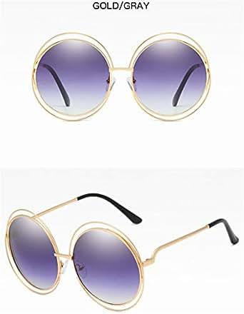Wang-RX Gafas de sol redondas de gran tamaño de las mujeres ...