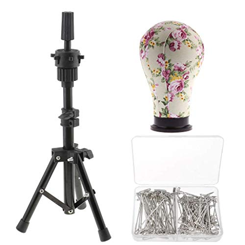 Mannequin Canvas Head for Wigs, Display Adjustable Professional Cork Block Head with Tripod Stand, 22 Inch with T-Pins Gift(150pcs)