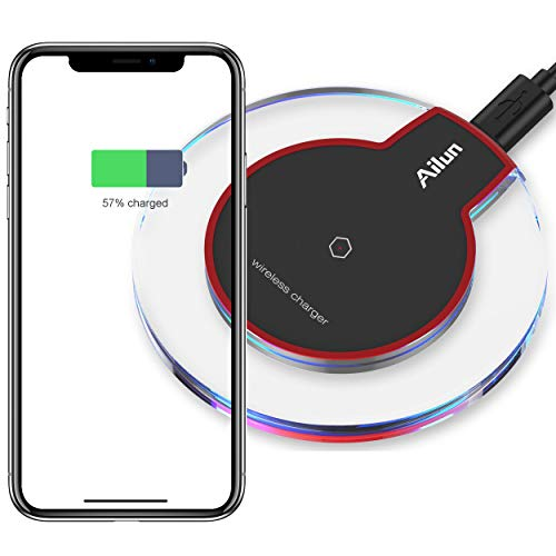 Ailun Wireless Charger,Ultra-Slim&Protable,Slip-Proof Pad,Universal for All Qi-Enabled Devices,Compatible iPhone 8/8plus/X/Xs/XR/Xs Max,Galaxy s10 Plus,S9/S9 Plus[Crystal]