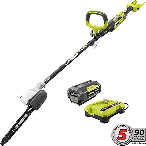 Find Discount Ryobi 10 in. 40-Volt Lithium-Ion Cordless Pole Saw - 2.6 Ah Battery and Charger Includ...