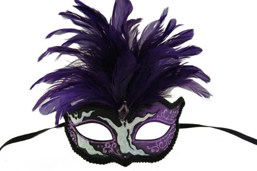 NEW Laser Cut Feather Headdress Style Masquerade Mask - Elegantly Detailed- Black w/ Purple Feathers and Ghoulish Design