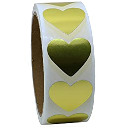 Hybsk Gold Labels 30mm Love Heart Natural Paper Stickers Adhesive Label 500 Per Roll (1 Roll)