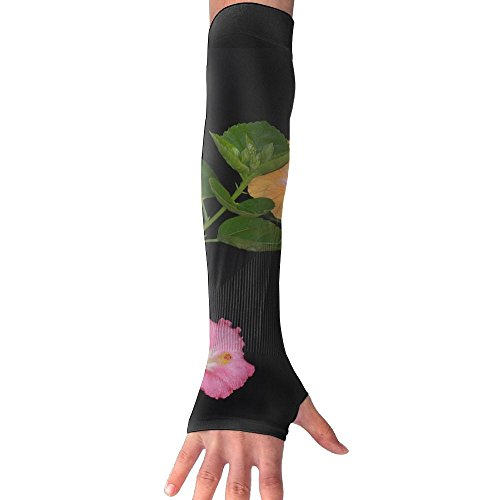 Many Flowers Hibiscus Plant ï¼?ï¼?JPG Ultra Long Non Finger UV Resistant Gloves Gloves Sleeve, For Women And Men To Provide Sunscreen Protection 1 Pairs, For Outdoor Sports, Driving, Bicycles by WEIFG