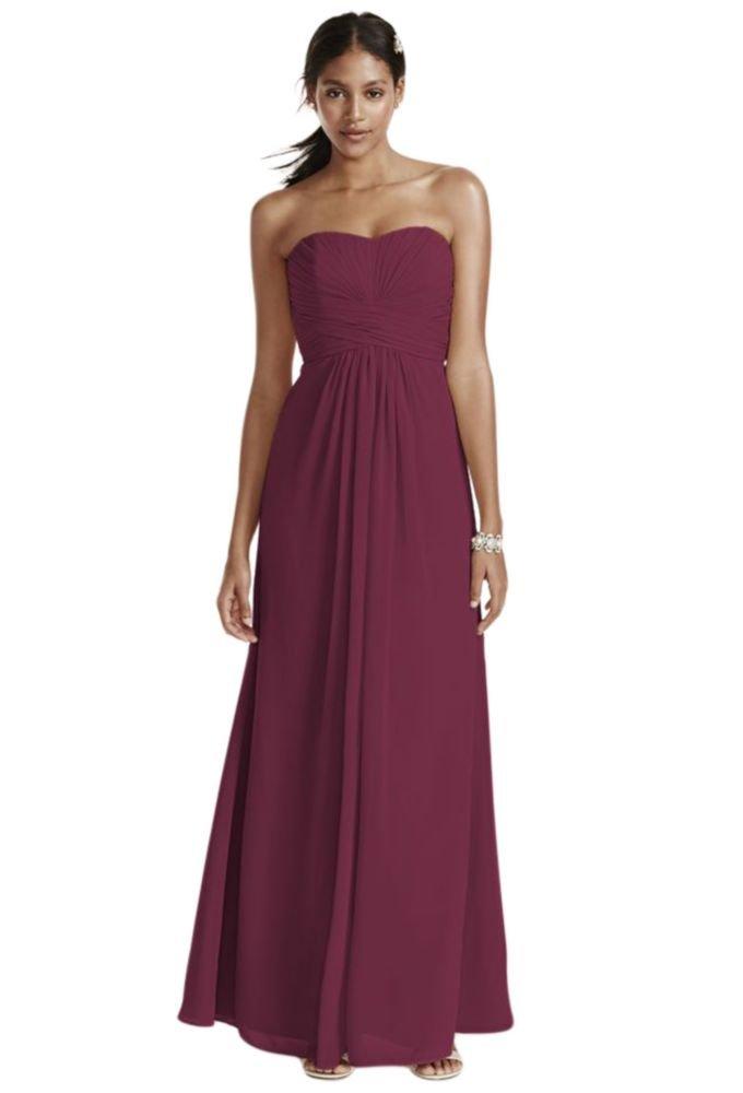 David's Bridal Long Strapless Chiffon Bridesmaid Dress Pleated Bodice Style F15555, Wine, 2