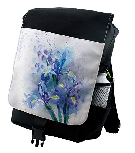 Ambesonne Floral Backpack, Iris Fresh Colors, Durable All-Purpose Bag