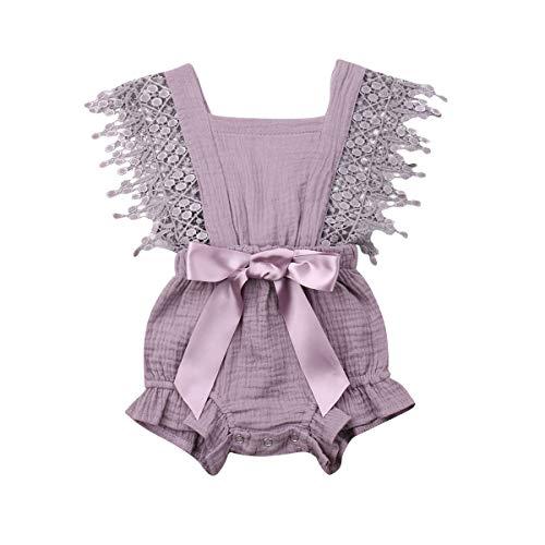 (Newborn Infant Baby Girl Clothes Lace Halter Backless Jumpsuit Romper Bodysuit Sunsuit Outfits Set (Light Purple, 18-24 Months))