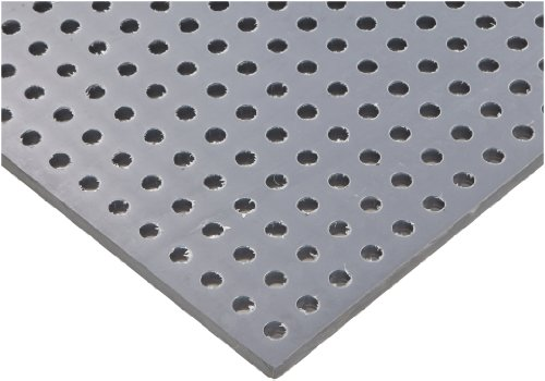 PVC (Polyvinyl Chloride) Perforated Sheet, Straight Holes, Opaque Gray, 0.125'' Thickness, 32'' Width, 48'' Length, Straight 1/4'' Holes, 0.5'' Center to Center by Small Parts