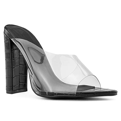 (RF ROOM OF FASHION Open Pointy Toe Clear Band Chunky Heel Dress Mule Sandals Black Croco Size.7.5)